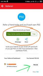 Airtel UPI Refer and Earn Offer